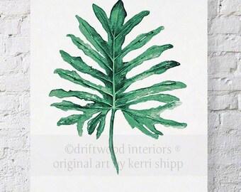 Tropical Leaf II Watercolor Print in Emerald Green 12x16 - Watercolor Art Print - Tropical Wall Art - Palm Leaf Art Print - Botanical Art