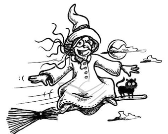 Digistamp - Easter Witch on a broom