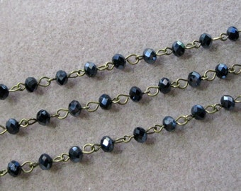 "One Meter 39.5"" Faceted Black AB Rondelle Glass 6mm Beaded Rosary Chain Antique Bronze Brass 969-Blk"
