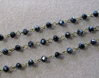 """Chapelet Perles 6mm en verre à facettes noir AB Rondelle d'un mètre 39,5"""" de la chaîne en laiton Bronze vieilli 969-noir"""
