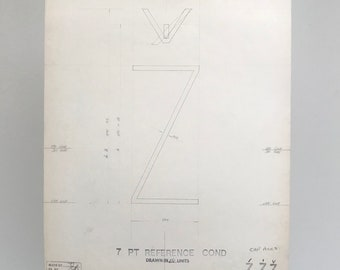 Letter Z with accents, 1967 original font casting drawing, typographic drawing. Gift for a graphic designer or typographer.