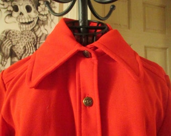 70s Orange Polyester Blazer Size M