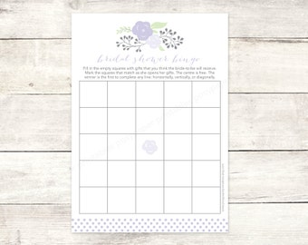 bridal shower bingo game card printable DIY lavender purple bouquet wedding shower bingo polka dots shower digital games - INSTANT DOWNLOAD