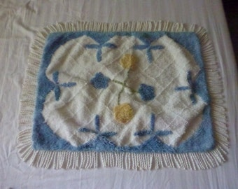 Blue,Yellow and White Chenille Pillow Sham With Floral Design All Cotton chenille