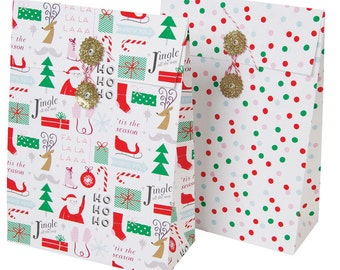 Gift Bags | Christmas Theme Gift Bags | 2 Bags Per Pack | Gift Wrapping | Christmas Wrapping