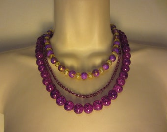 Purple multi strand necklace