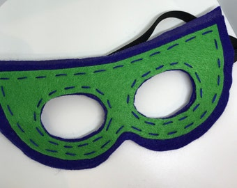 Superhero Mask - Customize and Personalize any colour - Blue/Green