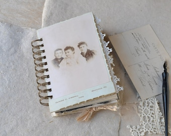 Cabinet Card Art Journal - Keepsake Book - Spiral Bound