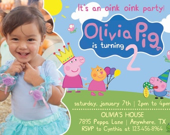 Peppa Pig Birthday Invitation with Photo! Peppa and Friends! Digital File, Print at Home.