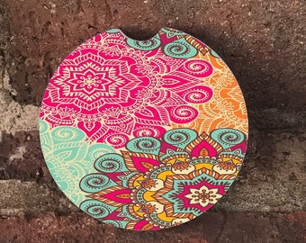 Custom Mandala Sandstone Auto Cup Holder Coasters (set of 2), Absorbent Sandstone, Personalized, Custom Car Coasters (set of 2)