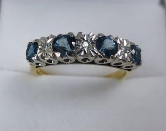 Lovely Topaz And Diamond Ring.   vintage ring. blue topaz ring. topaz and diamond ring.