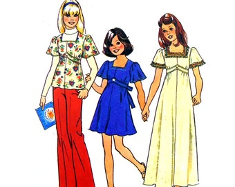 1975 Simplicity Jiffy 6867 Girl's Dress with Empire Bodice in Two Lengths or Top with Bell Sleeves Sewing Pattern Size 8 Breast 69 cm