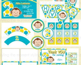 Boy Mod Monkey Birthday Printable Set
