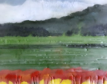 stand out 12x5.5- original encaustic painting peaceful, impressionist, landscape, tulips, flowers, fields