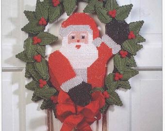 Santa Door Hanging ~ plastic canvas pattern ~ Wall or Door Hanging Pattern for Christmas & Santa Wreath Plastic Canvas Pattern Christmas Wreath Decoration ...