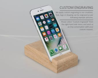 Wooden iPhone holder, iPhone stand natural oak wood, Personalized gift, iPad stand, Docking station, Charging station, Gift for him, Gift