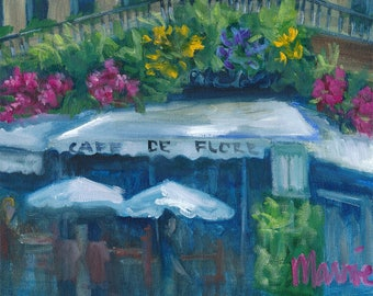 Cafe de Flore,  oil painting, ready to hang, original art, Parisian cafe, paris