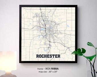 Rochester map Etsy