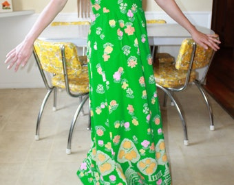 Vintage Honolulu Bright Green Day Dress with pockets