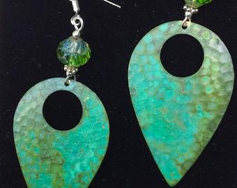 Vintage earrings, large earrings, large patina earrings , patina dangle earrings