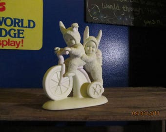 Vintage Department 56 Dept 56 Limited Edition 1997 Snowbunnies Snow Bunnies Bicycle Built for Two Figurine