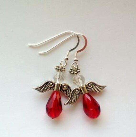 Red Angel Earrings , Guardian Angel Dangle, Faith Jewelry, Red Earrings, Angel Gifts Idea