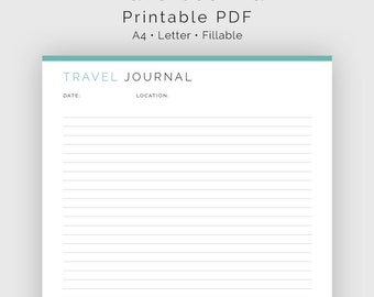 Travel Journal [Lined and Unlined] - Fillable - Travel Planner, Vacation Planner - Printable PDF - 3 colours - Instant Download