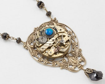 Steampunk Necklace Antique Pocket Watch Movement with Vintage Jet Crystal Beads, Black Opal, Gold Flower & Leaf Filigree Statement Necklace