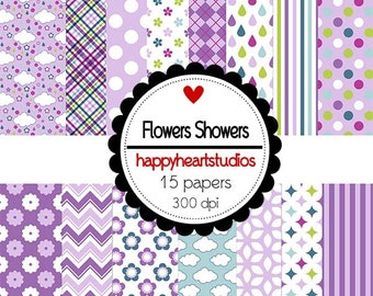 DigitalPapers FlowerShowers Instant Download
