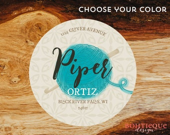 Piper Crochet and Yarn Personalized Return Address Label Stickers