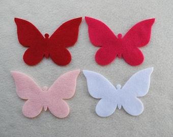 12 Piece Large Die Cut Felt Butterflies, Reds