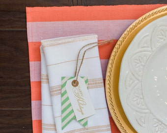 Sale! 25% Off - Coral Awning Stripe Placemats, Set 4, Handwoven Cotton, Eco Friendly,  Fair Trade