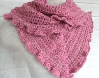 Pink Rose Long Ruffle Ruffled V-neck Alpaca Warm Cozy Scarf
