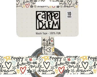 Say Cheese 100% FUN Washi Tape Carpe Diem Planner accessories, washi masking tape, paper tape, 15mm x 10 yards, (7932)
