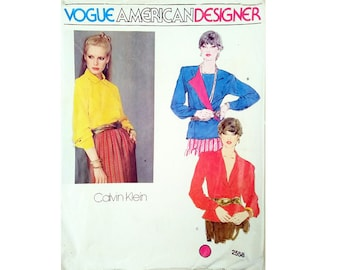 Vintage 80's Vogue American Designer 2558 Calvin Klein Double Breasted, Asymmetrical or Plunge V Neck Blouse Shirt Sewing Pattern