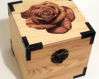 Woodburned Rose Box