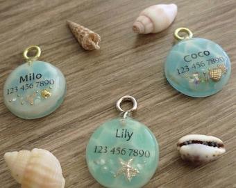 Personalized Pet ID Tag, Dog ID Tag, Cat ID Tag -Ocean Design ,Circle -