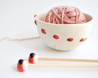 Special Offer. Ceramic Ladybugs Yarn Bowl, Knitting Bowl and Set of Ladybugs Needles. Ready To Ship