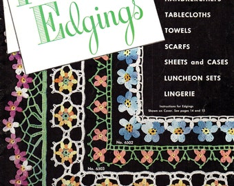 Star Book No. 65 FLOWER EDGINGS 1940s  Colorful Patterns in Thread Crochet VINTAGE 1949