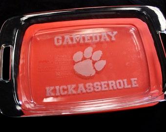 """9"""" x 13"""" Game Day Kickasserole Engraved Pyrex Baking Dish"""