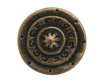 6 Gladiator 5/8 inch ( 15 mm ) Dill Metal Buttons Antique Brass Color