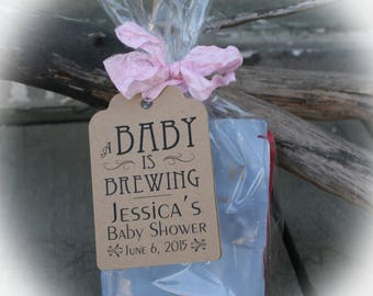 Exceptional A BABY Is Brewing  Baby Shower Favors/DIY Bags/Favor Tags W/