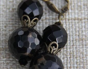 Agate Swarovski Brass earrings