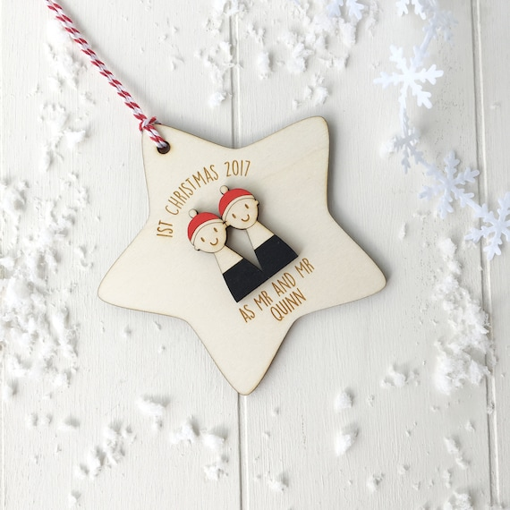 First christmas as Mr and Mr tree decoration - Personalised First Christmas married
