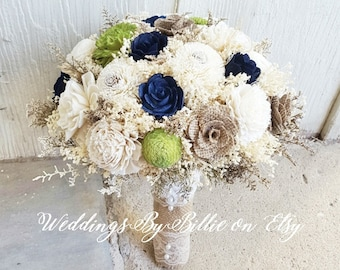 Navy Blue Chartreuse Green Sola Bouquet, Sola Flowers, Blue Green Wedding Bouquet, Wedding Flowers, Rustic Shabby Chic, Bridal Accessories