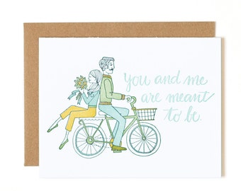 You and Me Are Meant to Be Letterpress Card // 1Canoe2