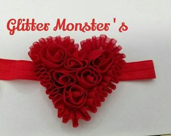 Valentine's Heart Headband, Red Infant Heart Headband, Pink Infant Heart Headband, Heart Headband, Baby Headband, Toddler Headband