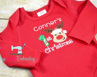 First Christmas Shirt, First Christmas Bodysuit, boy girl kid child toddler infant baby custom embroidery monogram