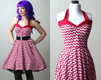 chevron retro rockabilly Yvonne swing dress custom - smarmyclothes