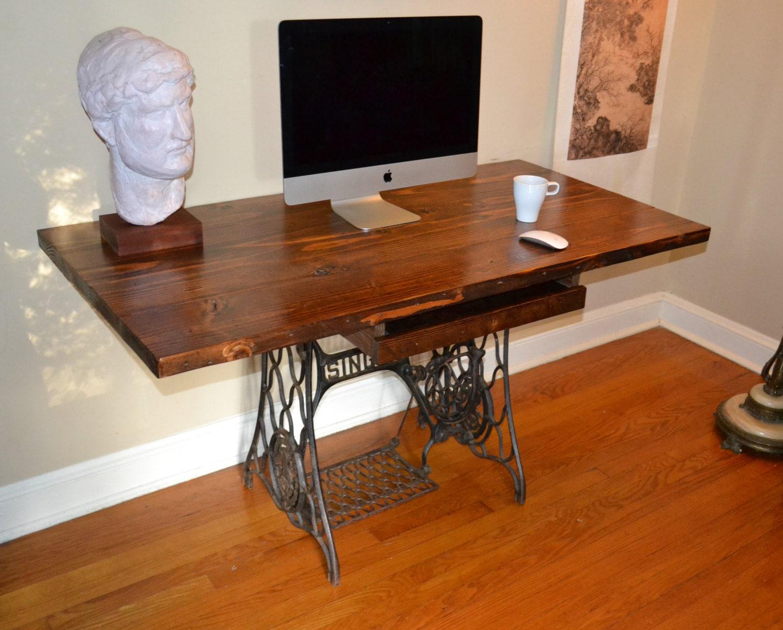 🔎zoom - Desk Reclaimed Wood Desk Sewing Machine Base Wood & Antique